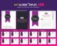 Mall 2016 för design för vektor för skrivbordkalender Stor uppsättning av 12 månader Veckan startar söndag Arkivfoto