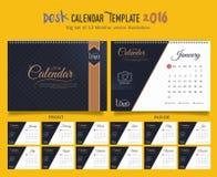 Mall 2016 för design för vektor för skrivbordkalender Stor uppsättning av 12 månader Veckan startar söndag Royaltyfri Bild
