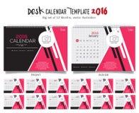 Mall 2016 för design för vektor för skrivbordkalender Stor uppsättning av 12 månader Veckan startar söndag Royaltyfri Fotografi