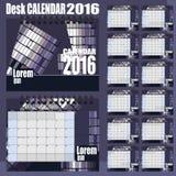 Mall 2016 för design för vektor för skrivbordkalender Uppsättning av 12 månader Fotografering för Bildbyråer