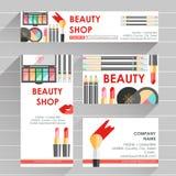 Mall för design för vektorlägenhet klar för makeupkonstnären, makeupdubb royaltyfri illustrationer