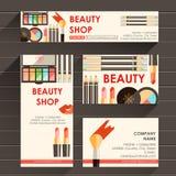 Mall för design för vektorlägenhet klar för makeupkonstnären, makeupdubb stock illustrationer
