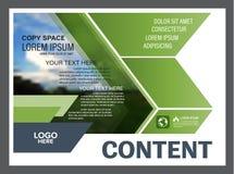 Mall för design för grönskapresentationsorientering Årsrapporträkningssida Arkivbilder