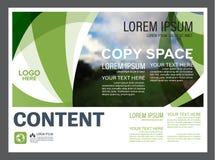 Mall för design för grönskapresentationsorientering Årsrapporträkningssida Arkivfoto