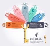 Mall för design för infographics för nyckel- begrepp för affär royaltyfri illustrationer