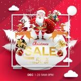 Mall för design för julSale säsong pappers- konst och digital hantverkstil kort för vektorillustrationhälsning, affisch, baner, p royaltyfri illustrationer
