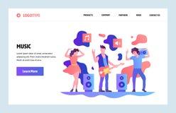 Mall för design för konst för vektorwebbplats linjär Att spela för musikmusikband vaggar och att dansa Landa sidabegrepp för webs stock illustrationer