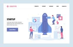Mall för design för konst för vektorwebbplats linjär Ny affärsidé för start och för lansering Landa sidan för website och mobil vektor illustrationer