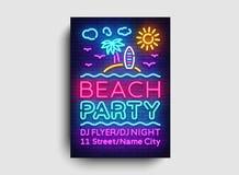 Mall för design för kort för strandpartiinbjudan Sommarpartiaffisch i neonstil, modern trenddesign, ljust baner stock illustrationer