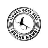 Mall för design för logo för fiska för fluga Vektor och illustration stock illustrationer