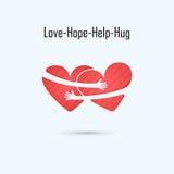 Mall för design för LOVE--HOPE-HELP-HUGvektorlogo Hjälpmedel- & förälskelsesymbol W stock illustrationer