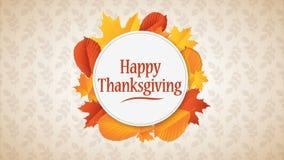 Mall för design för lycklig tacksägelsedag typografisk livlig Bakgrund mycket av filialer och hängande lönnlöv stock illustrationer