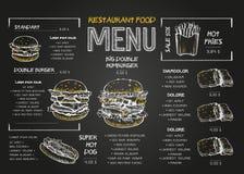 Mall för design för restaurangmatmeny med svart tavlabakgrund Menyn för snabbmat för tappningkritateckningen i vektor skissar vektor illustrationer