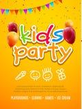 Mall för design för ungepartiinbjudan Barn som firar rolig garnering för reklambladaffischbaner vektor illustrationer