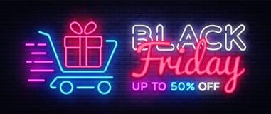 Mall för design för vektor för Black Friday Sale neontext Black Friday Sale neonlogo, ljus färgrik banerdesignbeståndsdel stock illustrationer