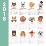 mall för design för vektor för månad för 2018 för kalenderhundår för avel för tecknad film symboler för husdjur Arkivfoto