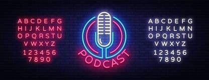 Mall för design för vektor för Podcastneontecken Podcast neonlogoen, trend för modern design för ljus banerdesignbeståndsdel färg vektor illustrationer