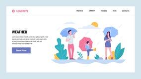Mall för design för vektorwebbplatslutning Den lyckliga familjen som går i regnet parkerar in Väder på dag för nedgångsäsong land vektor illustrationer