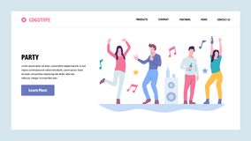 Mall för design för vektorwebbplatslutning Folkdans i nattklubb Högskolestudentparti Landa sidabegrepp för royaltyfri illustrationer