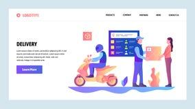 Mall för design för vektorwebbplatslutning Snabb stadshemsändning för moped Stolpepostservice Landa sidabegrepp vektor illustrationer