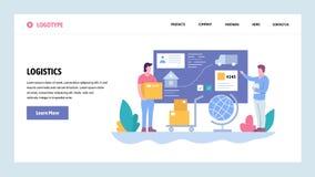 Mall för design för vektorwebbplatslutning Spårning och hemsändning Packesändnings Landa sidabegrepp för stock illustrationer