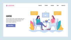 Mall för design för vektorwebbplatslutning Två flickor dricker kaffe i kafét, lunchavbrott Landa sidabegrepp för website stock illustrationer