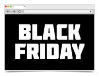 Mall för design för webbläsare för internet för Black Friday inskrift enkel Arkivbild