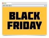 Mall för design för webbläsare för internet för Black Friday inskrift enkel Arkivfoton