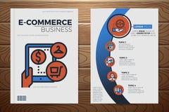 mall för E-kommers affärsbokomslag royaltyfri illustrationer