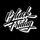 Mall för emblem för Black Friday Sale kalligrafibokstäver royaltyfri bild