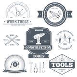 Mall för etikett för arbetshjälpmedeluppsättning av emblembeståndsdelen för din produkt eller design, rengöringsduken och mobilap Fotografering för Bildbyråer