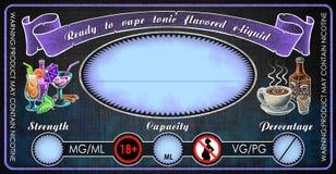 Mall för etikett för liten medicinflaska för flaska för Vape uppiggningsmedel smaksatt e-cigaretter e-flytande fruktsaft royaltyfri illustrationer