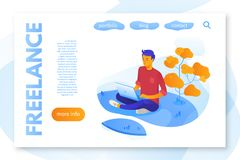 Mall för färg för frilans- servicelandningsida plan stock illustrationer