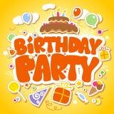mall för födelsedagdesigndeltagare vektor illustrationer