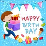 Mall för födelsedagkort med pojken och gåvor stock illustrationer