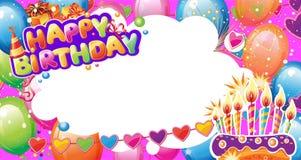 Mall för födelsedagkort med stället för text stock illustrationer