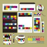 Mall för företags identitet för affär med färgrika kvarter Royaltyfria Bilder