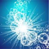 Mall för förpackande design för tvagningpulver Toppen rengöring Såpbubblor skum också vektor för coreldrawillustration Arkivbilder