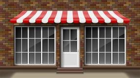 Mall för fasad för framdel för lager 3d för tegelsten liten med markisen Yttre tomma shoppar eller boutique med det stora fönstre vektor illustrationer