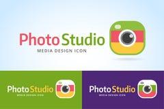 Mall för fotokamerasymbol Fotograf Logo Royaltyfria Bilder