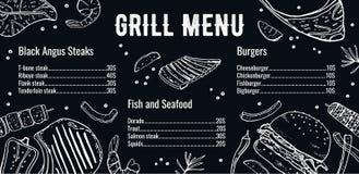 Mall för gallermenyhorisontaldesign med listan av kött, fisken och hamburgare Den drog ?versiktsvektorhanden skissar illustration vektor illustrationer