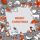 Mall för glad jul och för hälsningkort för lyckligt nytt år vektor illustrationer