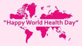 Mall för hälsning för dag för världshälsa med världsbakgrund vektor illustrationer