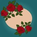 Mall för hälsningkort, bröllopinbjudan med den runda ramen och rosor vektor illustrationer
