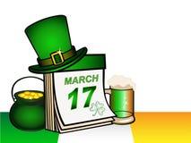 Mall för hälsningkort eller inbjudan till Sts Patrick dag royaltyfri illustrationer