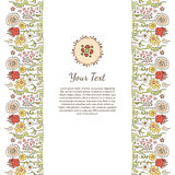 Mall för hälsningkort med den färgrika blommaprydnaden Vektor Illustrationer