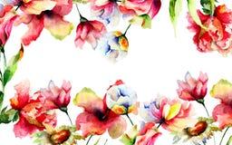 Mall för hälsningkort med stiliserade blommor Royaltyfri Bild