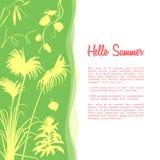 Mall för Hello sommarbaner Befordrings- baner med tropiska palmträd stock illustrationer