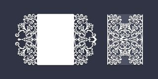 Mall för inbjudan för bröllop för laser-snitttappning royaltyfri bild