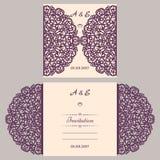 Mall för inbjudan för Lazercut vektorbröllop Bröllopinbjudankuvert för laser-klipp Snöra åt portveck Lazer snitt royaltyfri illustrationer